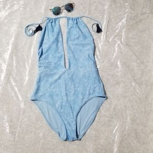 Aerie Blue Halter Neck With Tassels Swimsuit B1/11